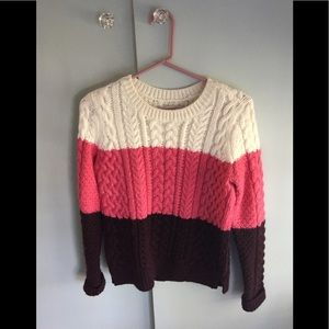 Cable Knit Tri-color Wool Blend Loft Sweater